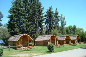 Row of One Room Camping Cabins
