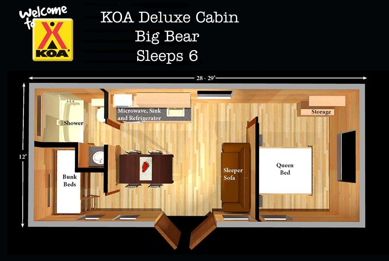Deluxe cabins free linens no need to pack sleeping bags for Sleeping cabin plans