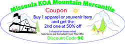 Buy 1 Apparel or Souvenior Item and Get the 2nd one at 50% off promotion